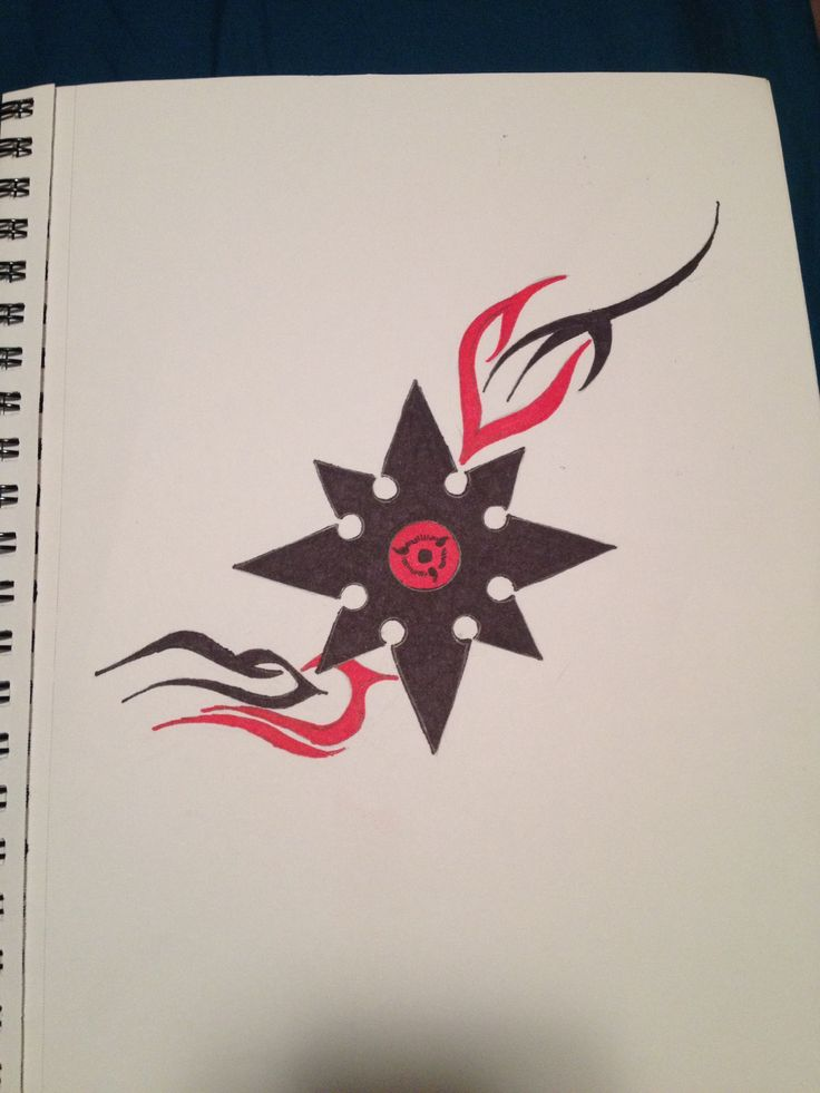 A drawing that I did of a throwing star and added Sauske's sharingan in the middle. #Naruto #Sharingan  ~Monica Mielke~