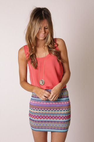 cute spring outfit: Minis Skirts, Patterns Skirts, Clothing, Fashion Idea, Cute Summer Outfit, Styles, Cute Outfit, Tribal Prints, Pastel Color