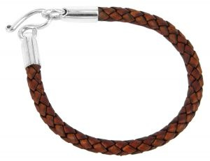 Brown leather and sterling silver bracelet