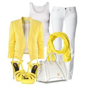 С чем носить желтые босоножки: белые джинсы и желтый пиджак