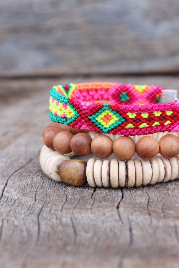 SANDALWOOD STACK Bracelets Tassel Boho by WildPeopleFreeSpirit