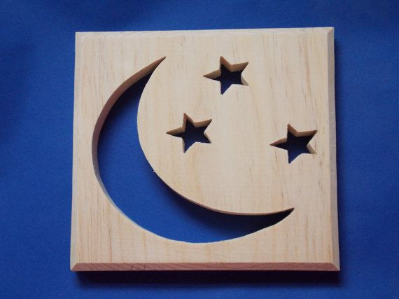 Moon and Stars Unfinished Wood Plaque by MumkenzGiftShop on Etsy