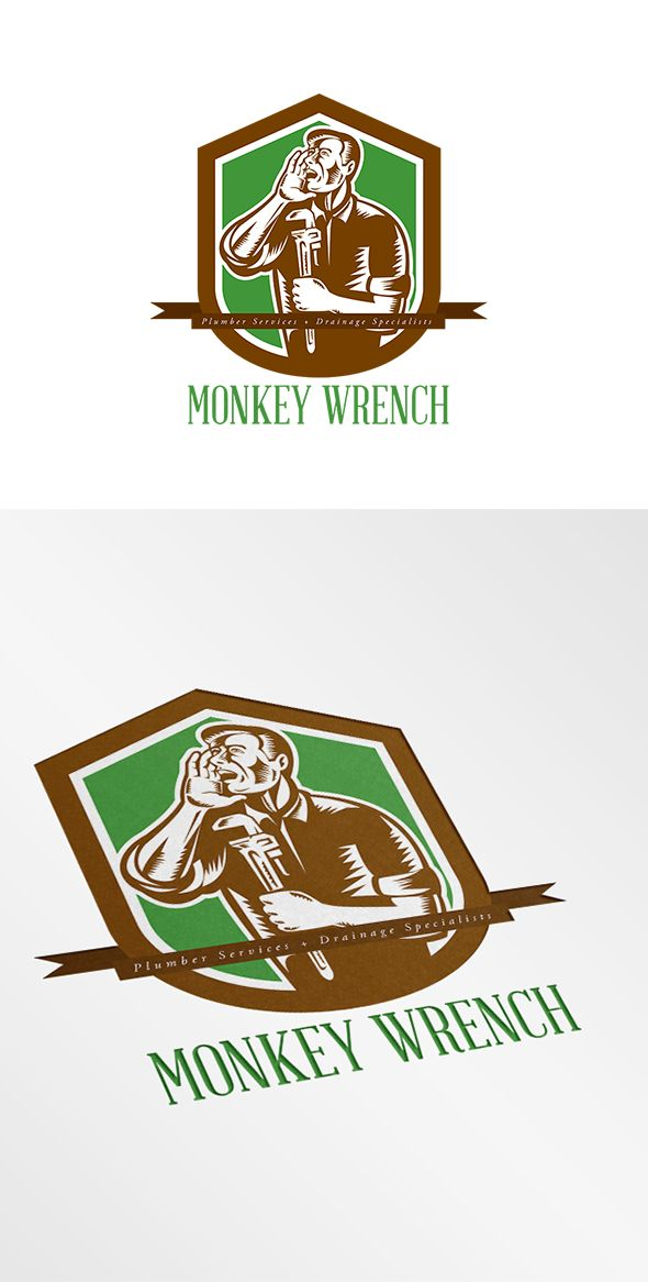 Monkey Wrench Plumber Services Logo. Logo showing illustration of a plumber shouting calling out with hand on mouth holding adjustable monkey wrench set inside shield crest on isolated
