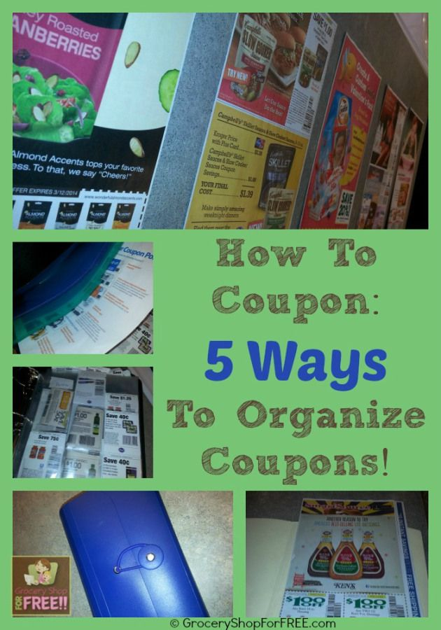 Option 2: Organize Coupons In Coupon Wallet Or Coupon Box The other option for organizing clipped coupons is to place them in a coupon wallet or coupon box. Basically, all of these types of coupon organizer systems are portable filing cabinets for your coupons where, instead of retrieving coupons by flipping pages in a binder you thumb through the tabs and fing the coupons where you filed them.