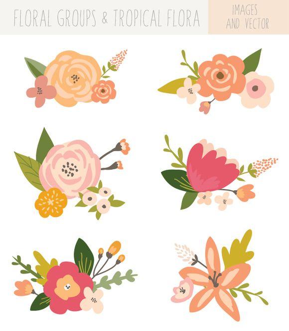 Flower Bunches Clip Art - Tropical by FIELDandFOUNTAIN on Creative Market