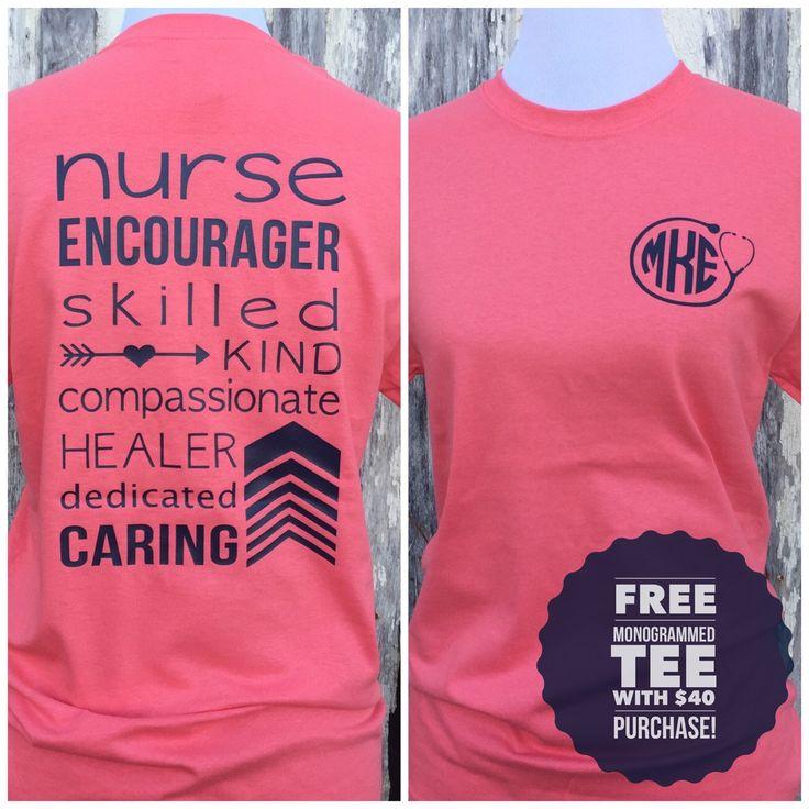 Monogrammed Nurse T-shirt, Nurse Tee Shirt, Nurse Appreciation Gift, Nurse Clothing, Ladies Tee Shirt, by CottonThreadsShirtCO on Etsy