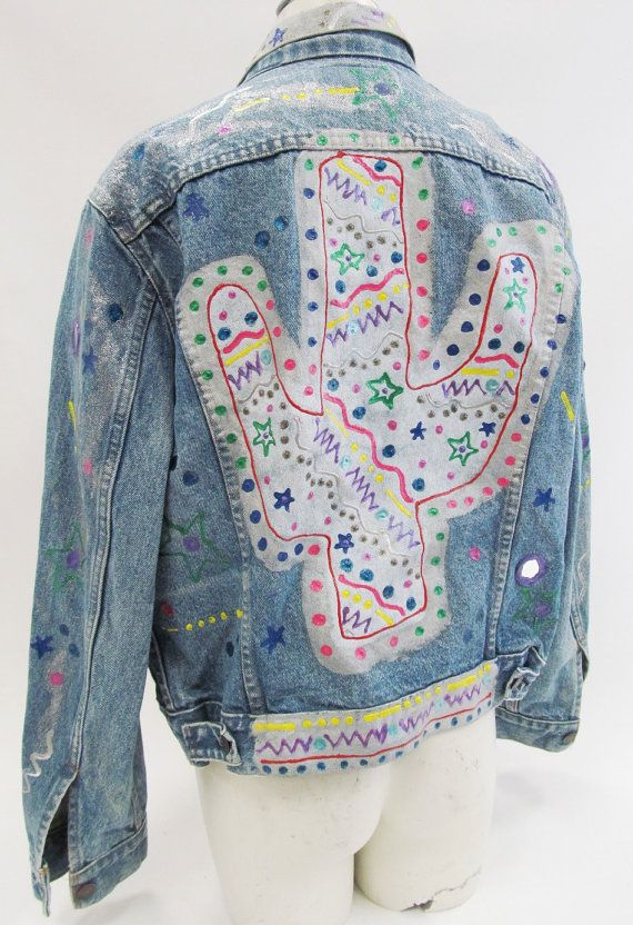 80s Levi S Puff Paint Southwestern Theme Denim Jacket Size