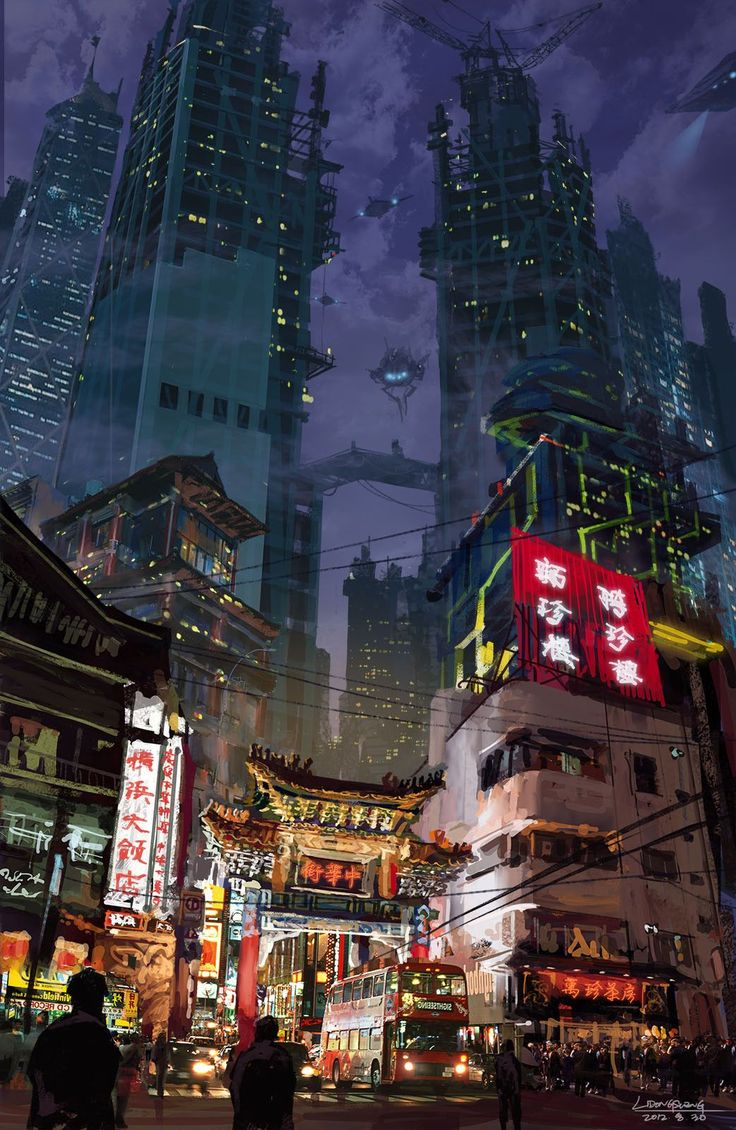 Neo Tokyo inspiration - mixing the old in with the new, traditional Japanese buildings shown down at the ground level in amidst the bright street lights from all the street vendors and businesses. Set to a backdrop of towering sky-scrappers plunging into the darkness, the contrasting lights from the offices in the towers appear like stars in the night sky.