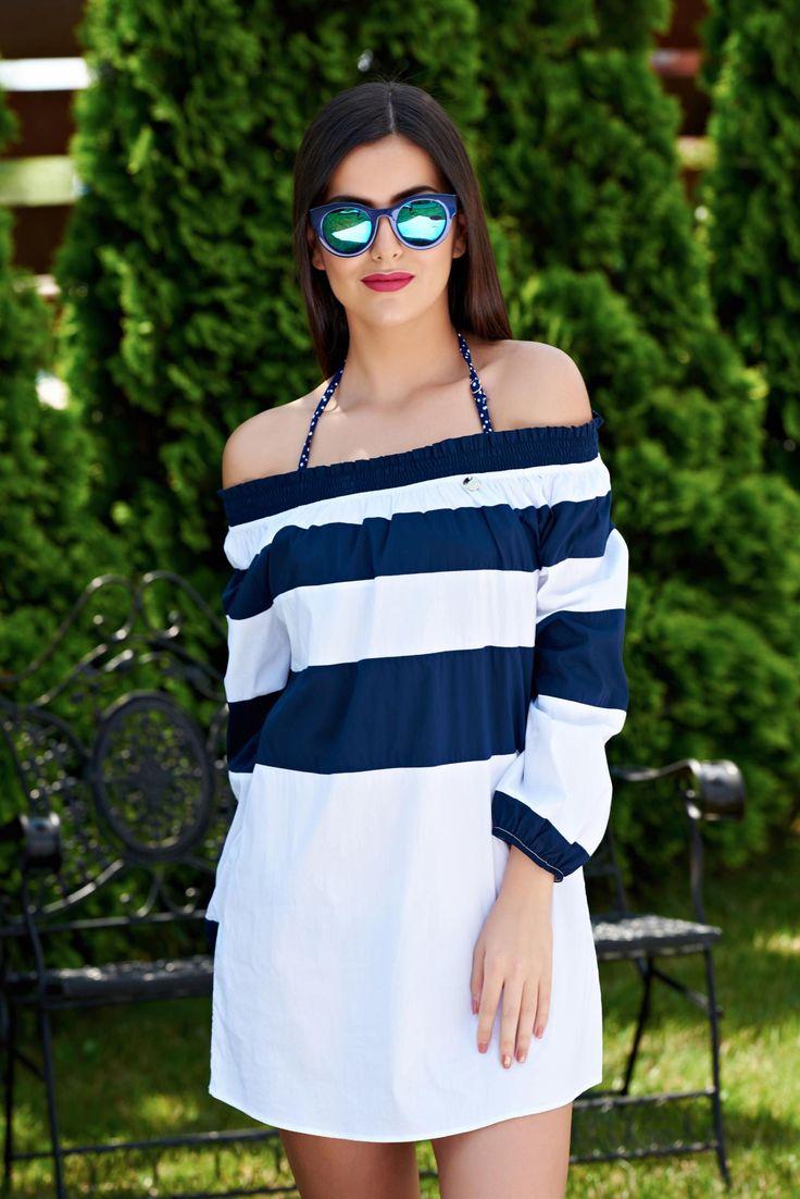 Rochie PrettyGirl De Plaja Modern Style DarkBlue. Bluza din material elastic, potrivita pentru serile de vara mai racoroase. O poti asorta cu…