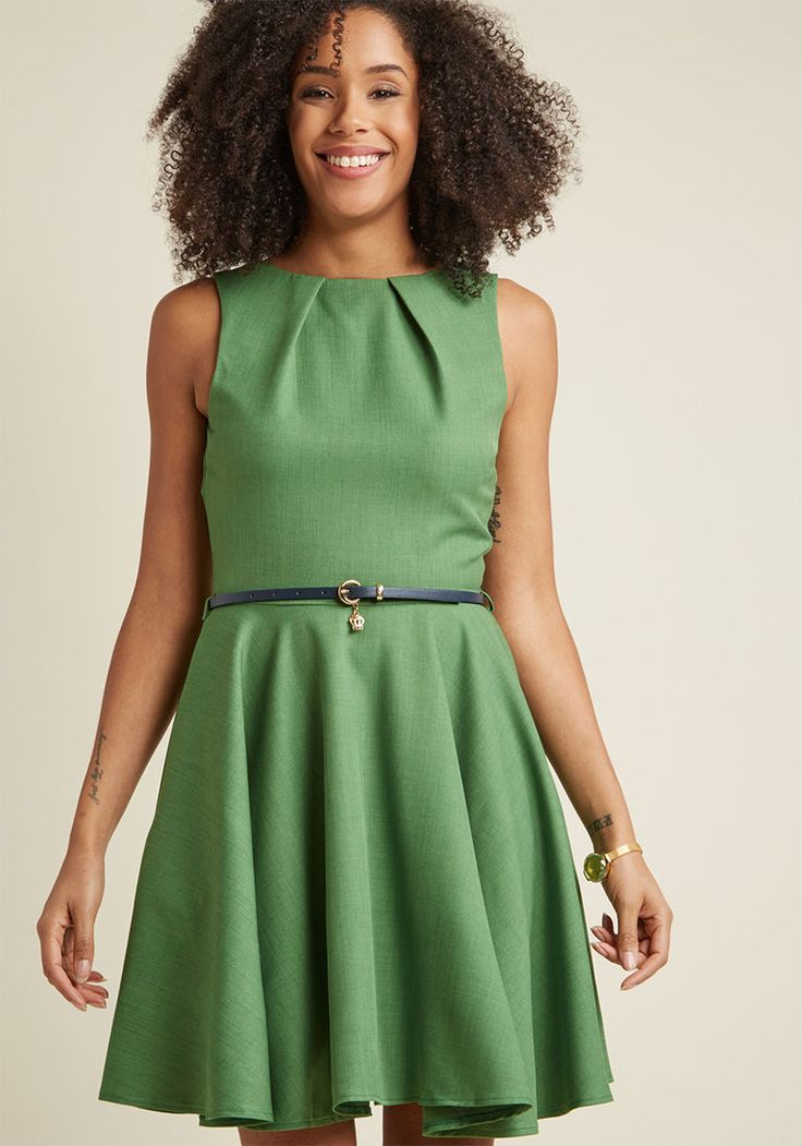 Closet London Luck Be a Lady A-Line Dress in Fern in 24 (UK) - Sleeveless Fit & Flare Knee Length