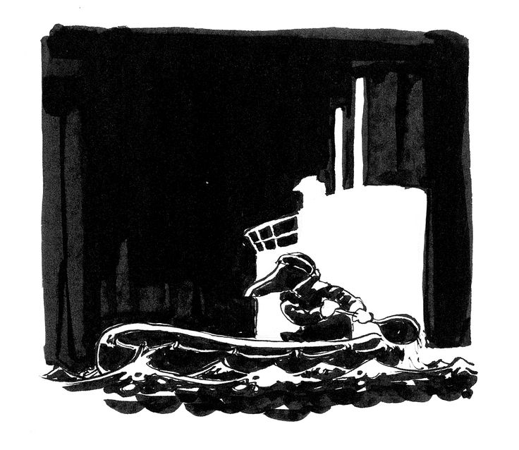Submarine by Jon Skraentskov Ink on paper 2017