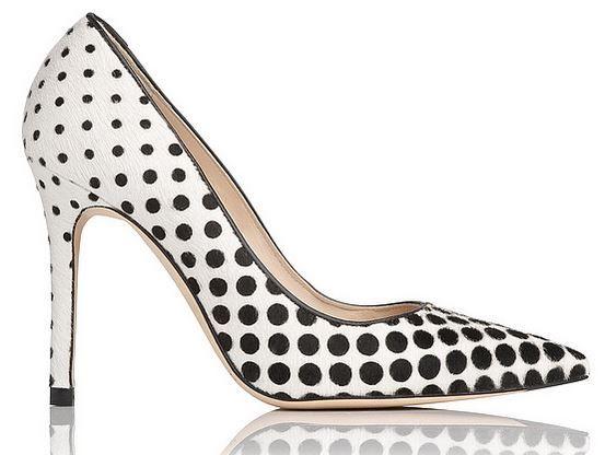 LK Bennett 'Fern' Haircalf Point Toe Polka Dot Court Shoes
