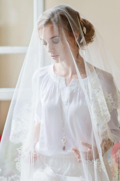 Lace bridal veil / Одежда и аксессуары ручной работы. Ярмарка Мастеров - ручная работа. Купить Свадебная фата 3 м с вышивкой / свадебное украшение. Handmade.