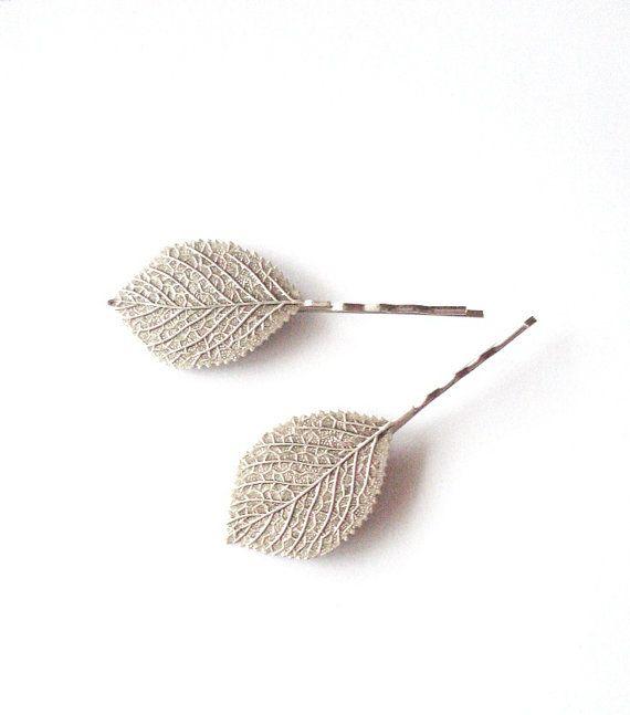 Silver Leaf Bobby Pins