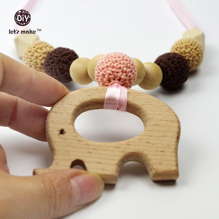Let's make Elephant Wood Teething Nursing Necklace Crochet Wooden Teether Baby Play Gym Car Toys Baby Teether