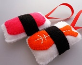 Sushi Christmas Ornaments - Ebi Shrimp & Spam Musubi