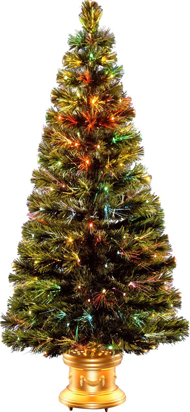 Crestwood small artificial christmas tree with plastic bronze pot - Fiber Optics Radiance Fireworks 5 Green Artificial Christmas Tree