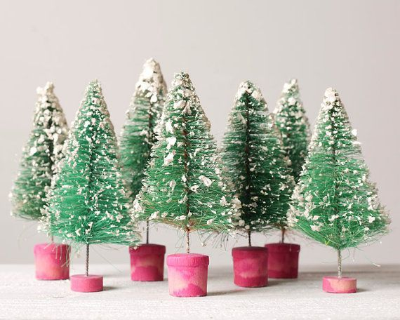 Vintage Bottlebrush Christmas Tree Collections | Vintage Bottle Brush Tree  Collection   Retro Christmas Decorations .