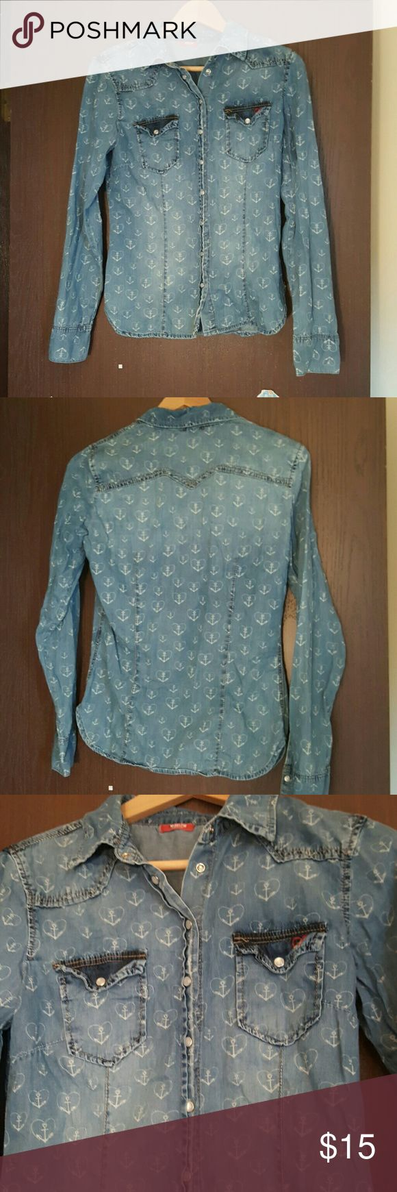 Denim shirt for women Denim shirt with anchor print. Good for cold Springs and Summers evenings. Thin fabric. Very good condition. Tops Button Down Shirts