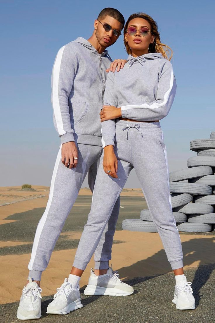 Her Contrast Panelled Crop Hooded Tracksuit boohoo in