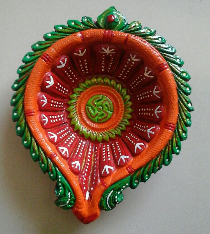 Diwali Diya # designer diya# Red Green orange combination....# big Diya # put it in Chocolate # rape it well # give as a Diwali gift