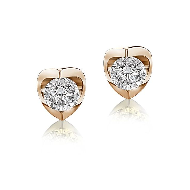 Solitaire Earrings In 14k Yellow Gold