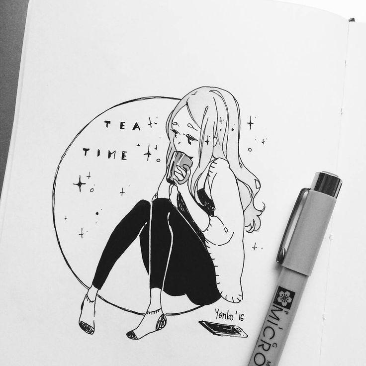 random evening doodle to kill time. tea is life ~_~
