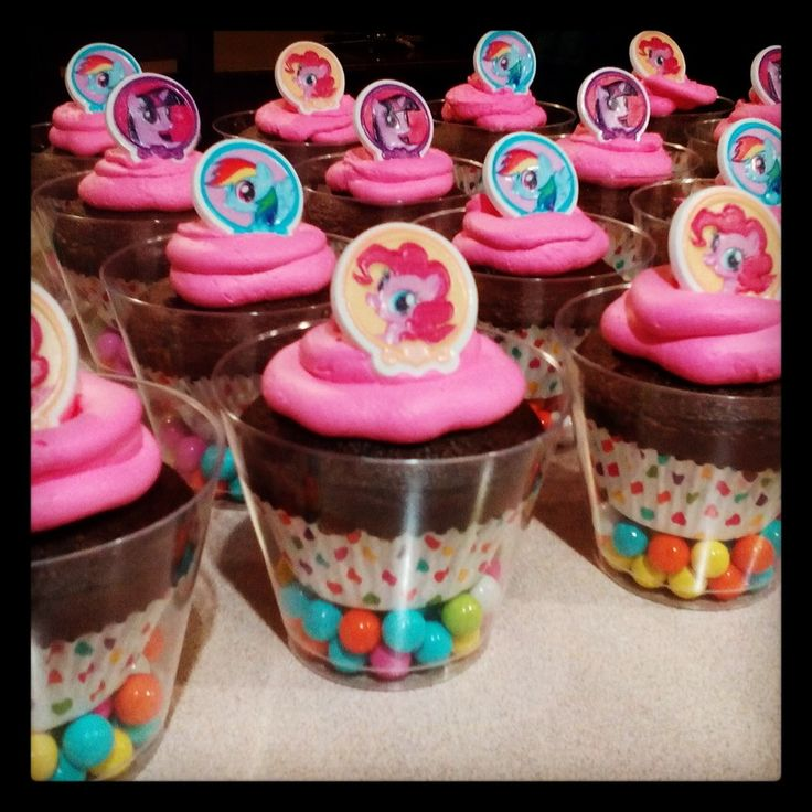 My little Pony cupcakes in a clear cup from Dollar tree with sixlets also from Dollar tree.