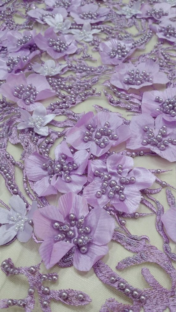 Lilac lace fabric beaded luxury 3D lace fabric hand by LaceToLove Lace To Love Lacetolove