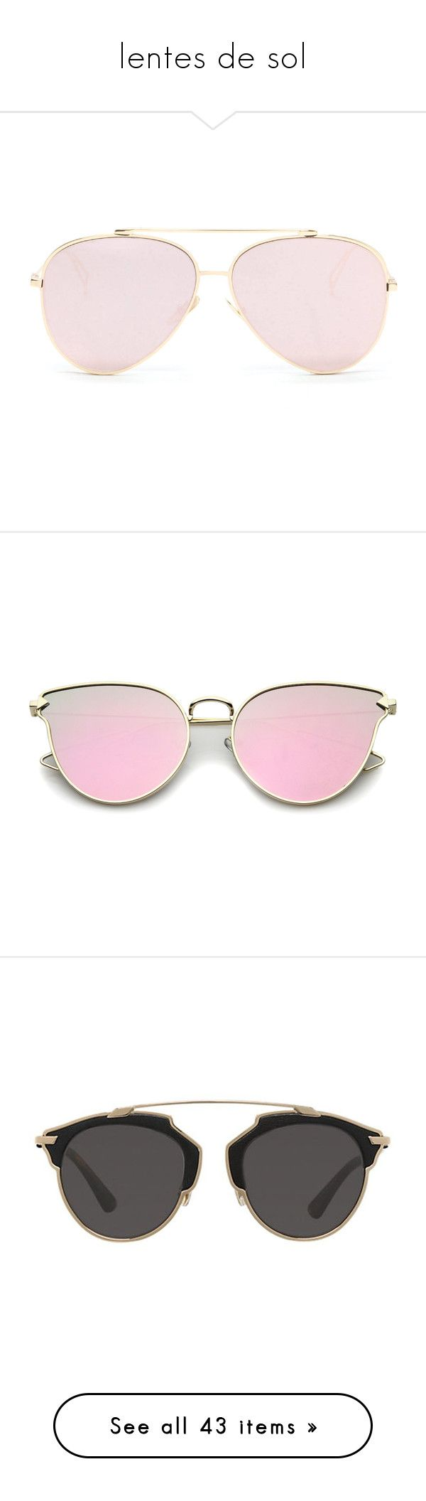 """""""lentes de sol"""" by hipster999 ❤ liked on Polyvore featuring accessories, eyewear, sunglasses, glasses, eyes, aviator sunglasses, aviator style sunglasses, pink, pink mirrored sunglasses and metal frame sunglasses"""