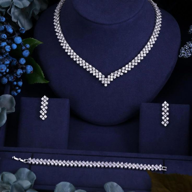 Crop Tops Women Cubiczirconia Wedding Jewelry Sets Diamond Jewelry Necklace Bridal Jewelry Sets