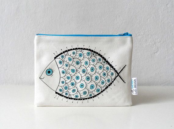 Fish Pouch Zipper Pouch  Nautical cosmetic bag by ShebboDesign marine nautical design, modern fish illustration