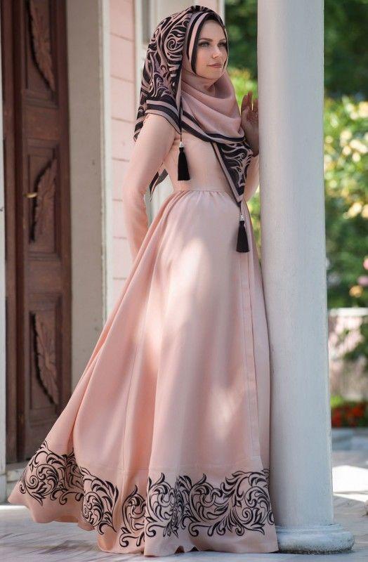 Muslima Wear Eteği Volanlı Elbise 35008 Pudra