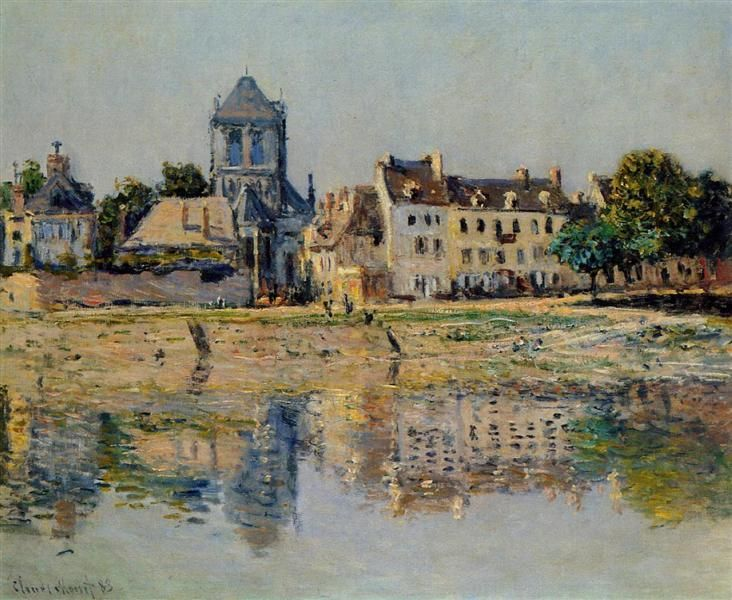 """By the River at Vernon"" ・ by  Claude Monet ・ Date: 1883 ・ Style: Impressionism ・ Genre: cityscape"