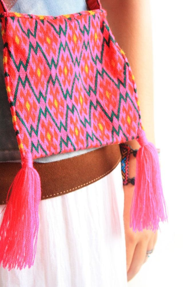 Wixarikas Shaman Indigenous bag - authentic huichol art - hand made bags made and carried by Huichol men - for more of Mexico to add to your collection, visit www.mainlymexican... #Mexico #Mexican #Huichol