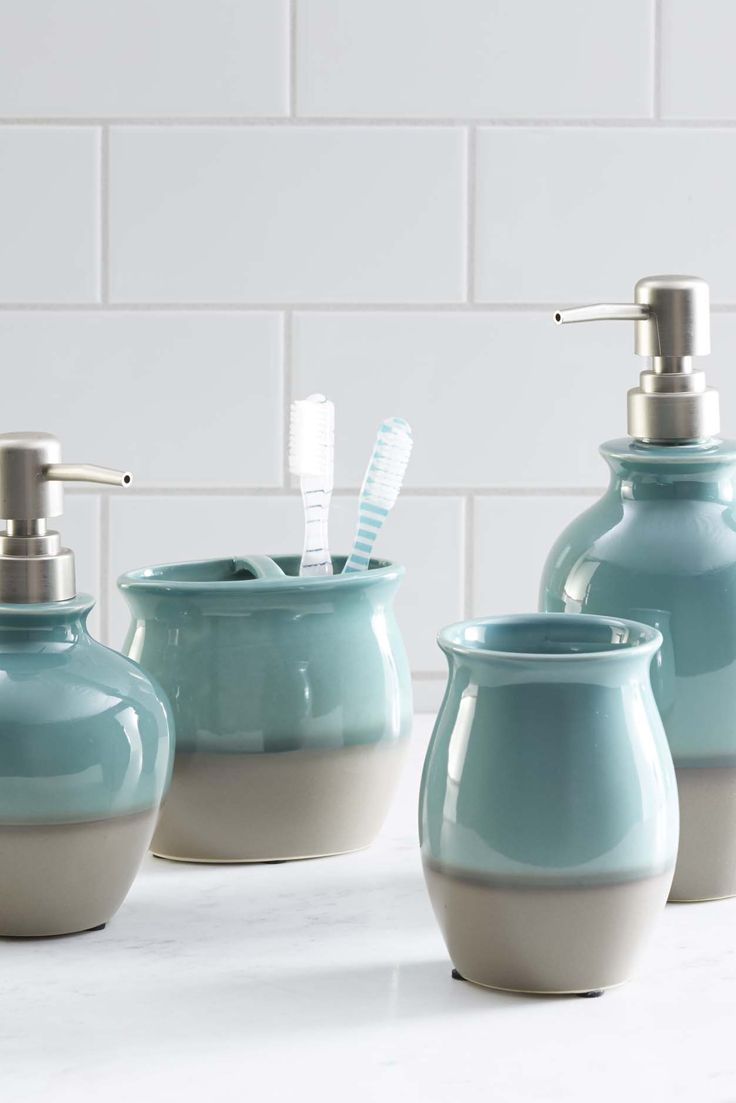 Our teal glaze ceramic bath accessories are a fan favorite for Blue and grey bathroom sets