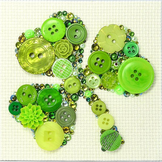 Button Art  Shamrock  Vintage Buttons Wall by PaintedWithButtons