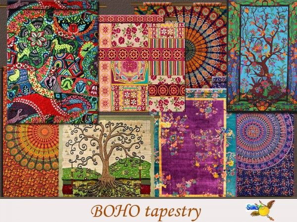 The Sims Resource: Boho Tapestry set by evi • Sims 4 Downloads