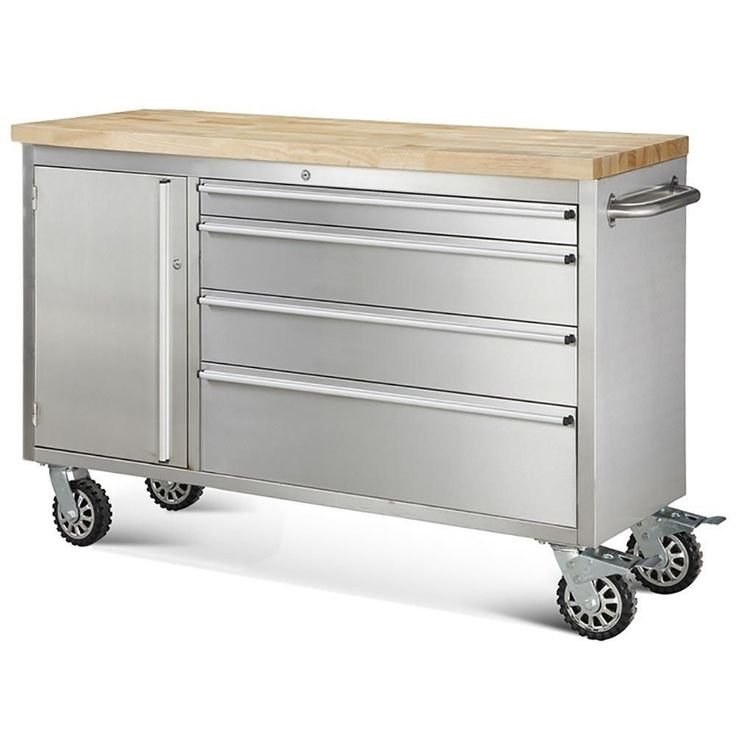 "One like this would be so great for the kitchen by the stove. 48 "" 4-Drawer and Cabinet Rolling Stainless Steel Tool Chest   #Hyxion #Modern"