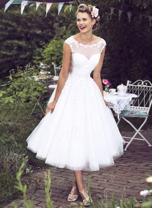 Brautkleider - $147.69 - Duchesse-Linie U-Ausschnitt Wadenlang Tüll Brautkleid mit Applikationen Spitze (0025100079)