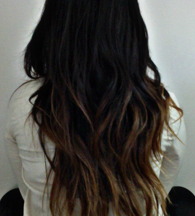 black to brown to light brown ombre