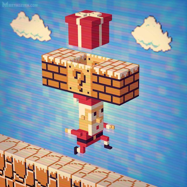 Voxel Mario Santa via http://www.metinseven.com/2015/02/3d-pixel-artist-artwork-voxels-cubic-illustrations.html