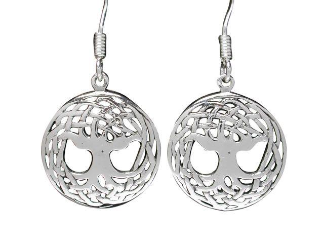 Sterling Silver 15mm Tree Of Life Drop Earrings