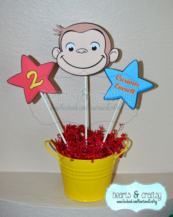Curious George Centerpiece Cutouts PERSONALIZED / Curious George Party Cake Topper by HeartsandCraftsy on Etsy