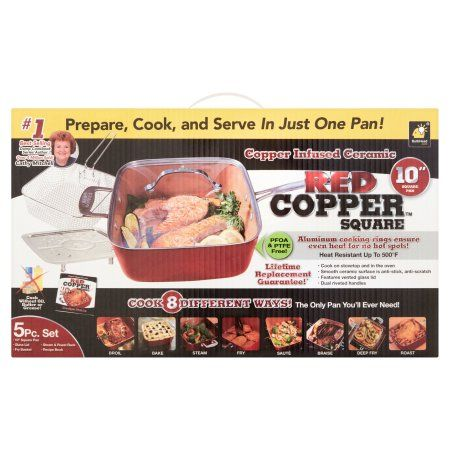 Red Copper 10 inch Square Pan Set