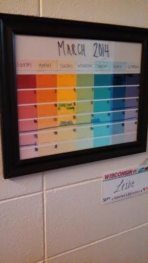 Dry erase calendar! Great idea I got from an RA at college... Frame a calendar page and use dry erase markers to write your schedule on the glass.