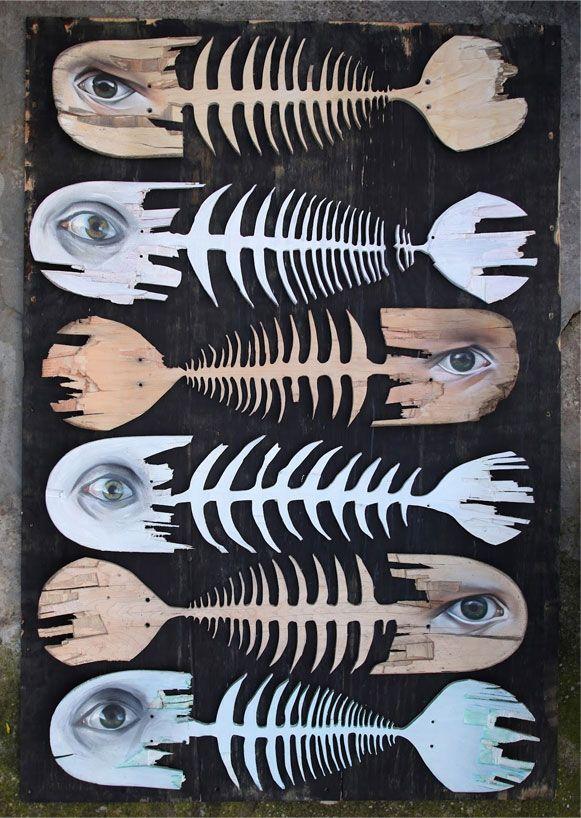 O artista croata chamado Lonac faz ilustrações, grafites, esculturas, entre outros, mas o trabalho dele que achei legal demais usa pranchas velhas de skate.