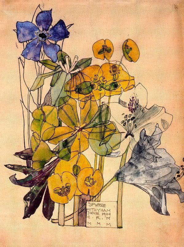 Charles Rennie Mackintosh. Scottish Art Nouveau Designer, ( 1868 - 1928 ) flower water color
