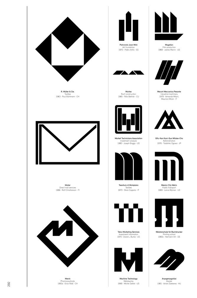 Modernist logos based on the letter M.