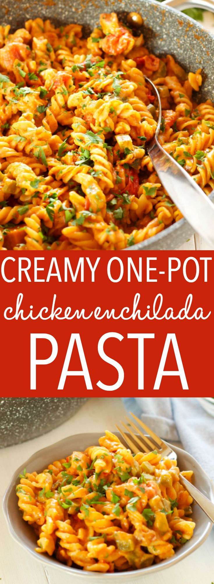 This Creamy One-Pot Chicken Enchilada Pasta is the perfect easy weeknight family meal made with simple ingredients in 30 minutes or less! Recipe from thebusybaker.ca! #easyfamilymeal #familymeal #weeknightmeal #onepotpasta #enchiladapasta via @busybakerblog